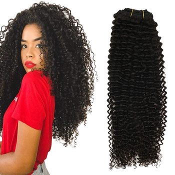 Double Drawn Natural Black African Kinky Curly Clip In 100% Virgin Human Hair Extensions 4A 4C Afro Kinky hair clip-ins