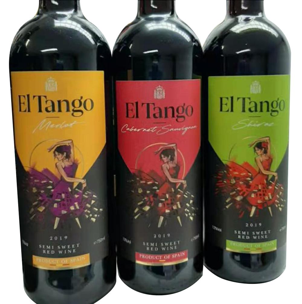 Испанское полусладкое красное вино El Tango с 12% объемом 750 мл, бесплатный OEM