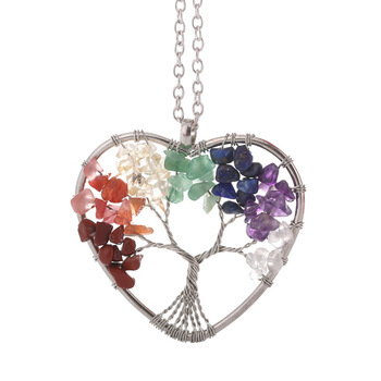 Heart Shape 7 Chakra Pendant Jewelry Natural Stone Family Tree Of Life Necklace