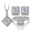 square moissanite jewelry set