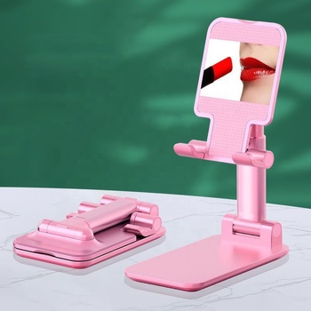 Foldable Aluminum Alloy Cell Phone Holder with Mirror Adjustable Desktop Tablet Stand for iPad