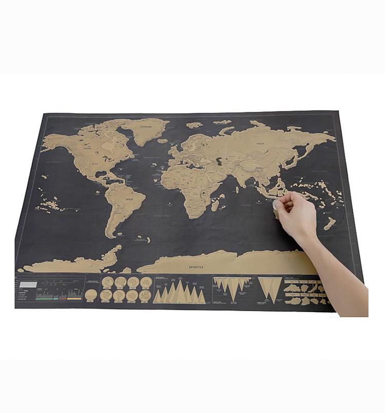 Постер с царапинами, чёрная Золотая карта с царапинами, карта мира