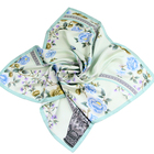 Double Sides Digital Print Top Quality 16 mm Sheer Silk Twill Square Scarf with Hand Rolled