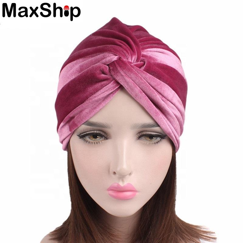 Wholesales velvet hijab muslim turban femme