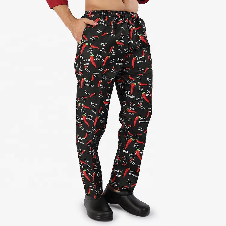 Рабочие брюки для ресторана, мужские и женские мешковатые штаны шеф-повара с принтом, кухонная Униформа с эластичным поясом и цветочным принтом
