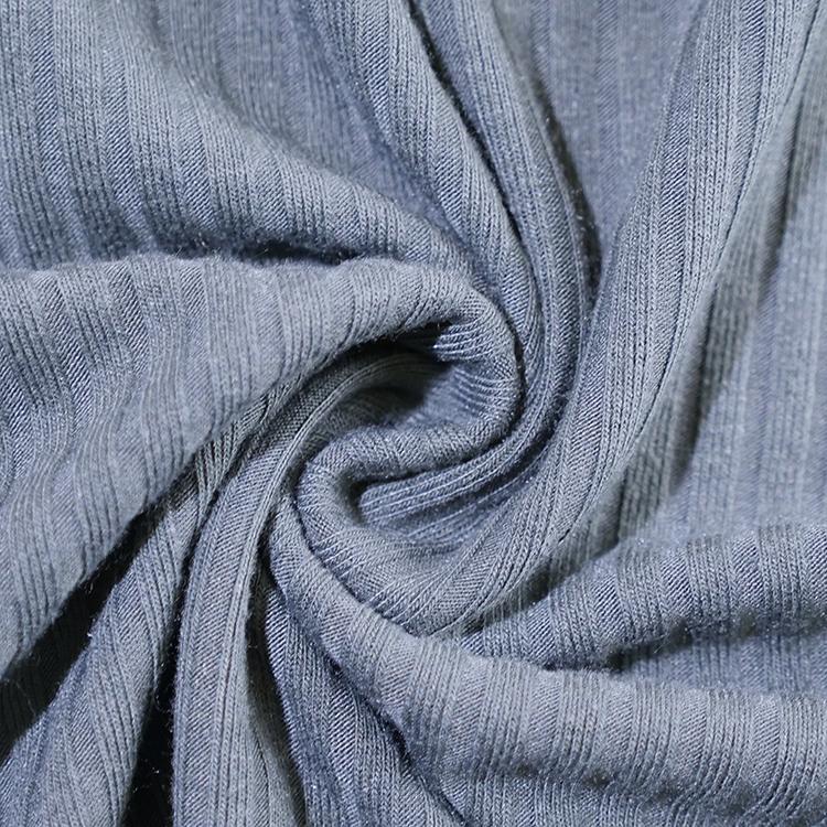 Прямая продажа с фабрики, плотная однотонная окрашенная зимняя ткань из полиэстера, вискозы, спандекса, трикотажная ткань в рубчик для одежды 250 г/м2
