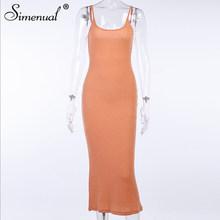 Simenual в рубчик однотонная нежно розового цвета с Для женщин длинное модное платье на бретелях без рукавов для девочки с низким вырезом на спи...(Китай)