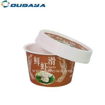 Manufacturer eco friendly custom logo printed 210ml round IML yogurt pots soup plastic container frozen yogurt cup with lids