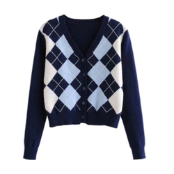 Ins Fashion Short Knitted Sweater Long Sleeve England Style Outerwear Winter Women Sweater Cardigans