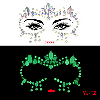 2020 NEW Face Crystal Stickers Luminous Gem Make Up Adhesive Temporary Tattoo Body Art Gem Stickers Face Jewelry