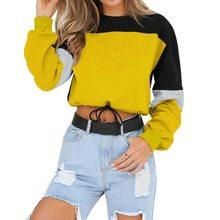 Популярные женские толстовки с длинным рукавом Свободный укороченный топ 2020 осенний Свитшот Повседневный лоскутный пуловер с круглым выре...(Китай)