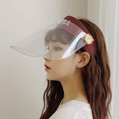 Factory cheap uv protective hat sun shield cap fashion transparent PC sun visors
