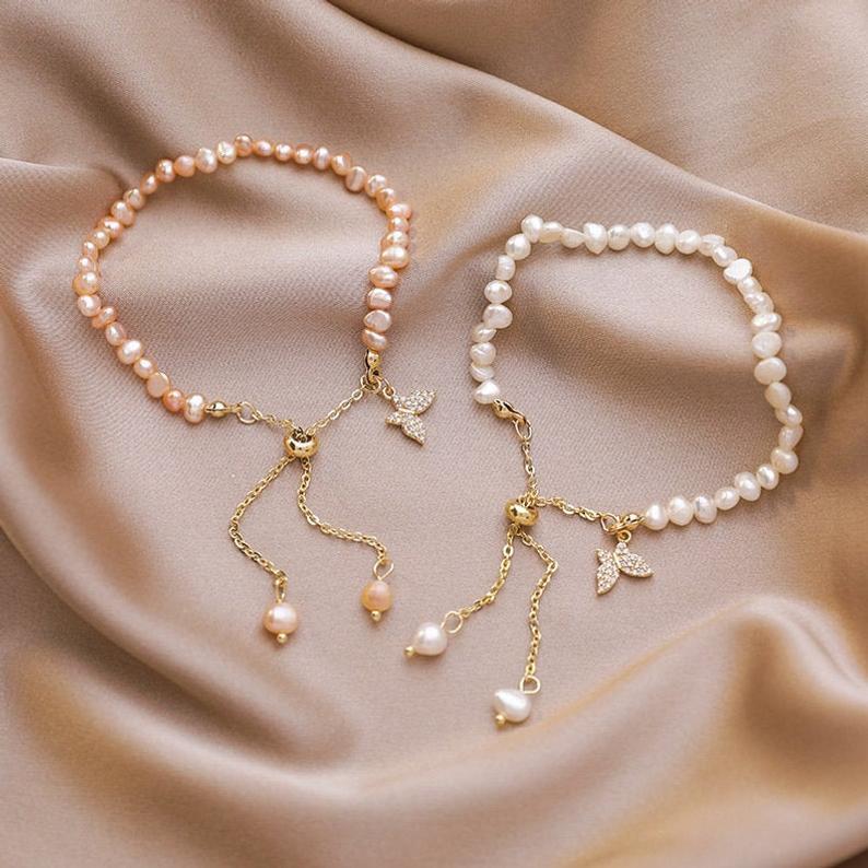 Модный 18k позолоченный Розовый Пресноводный жемчужный браслет барокко жемчужный браслет бабочка для женщин розовый жемчужный браслет