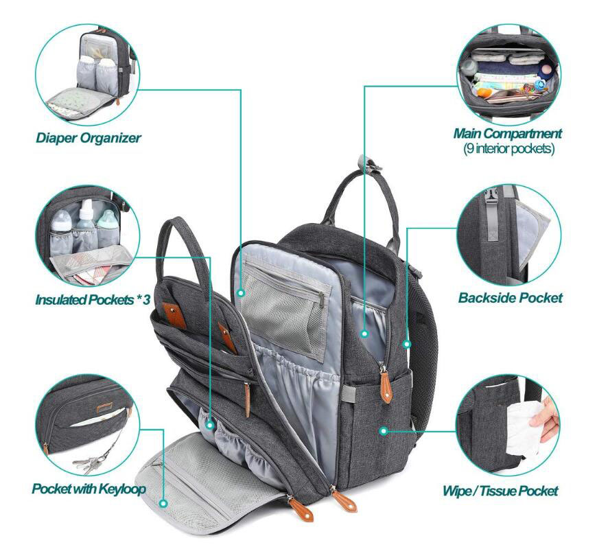 Multifunctional Outdoor Travel Baby Mummy Diaper Backpack Bag