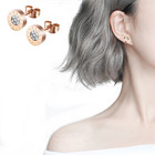 Rose Stud Earrings 2020 Roman Designs Fashion Gold Plated Rose Gold Stainless Steel Stud Earrings