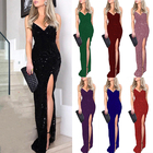 Evening Gown Gown Wholesale Women's Gold Stamping Dress Sexy Side Slit Empire Halter Evening Dress Gown