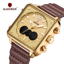 KADEMAN роскошные квадратные часы Мужские Оригинальные спортивные часы Топ бренд двойной дисплей 3ATM Tech наручные часы новые кожаные повседневн...(Китай)