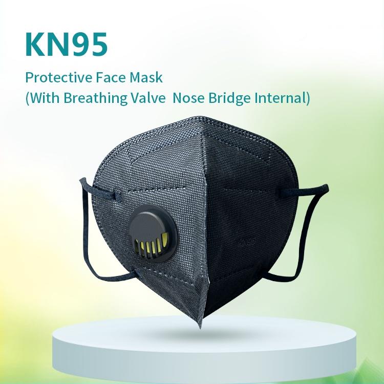 Hot Sales Mascarillas Ear Hook Disposable Cubrebocas KN95 Black With Filter Valve Breathable 5 ply layer Respirator Facemask