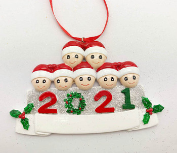 Family 7 Xmas tree Pendant Gift Polyresin Hanging DIY Personalized Family 2021 Christmas Vaccine Gifts Ornament