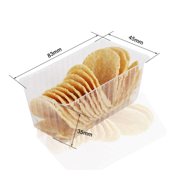 Custom PET Clear Blister Mini Snack Container Biscuit Packaging Plastic Tray Potato Chip Tube Packaging