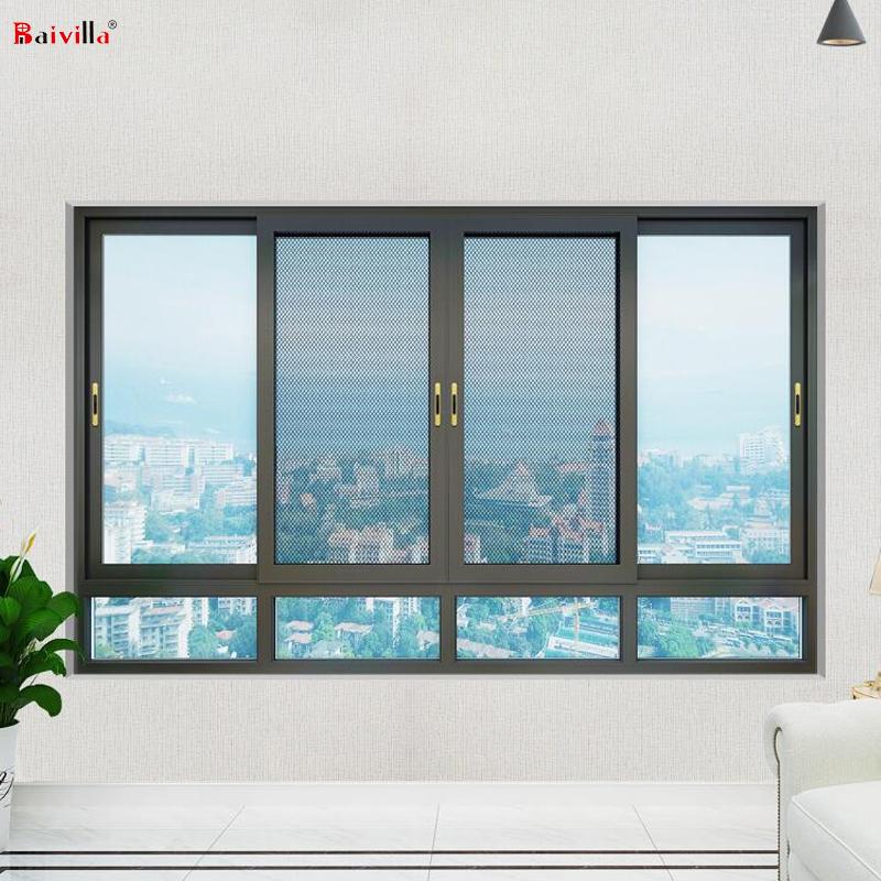 Черная алюминиевая рама раздвижное окно закаленное стекло для унитаза водонепроницаемый Встроенный раздвижной замок для окон