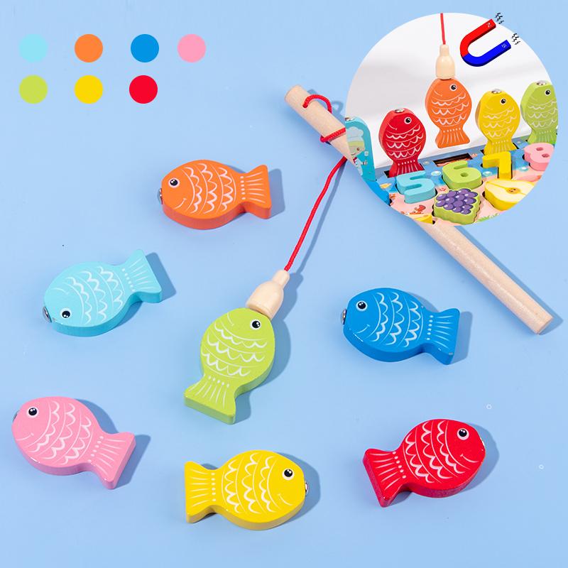 Montessori children's education wooden toys busy board math fishing toy preschool wooden montessori toy