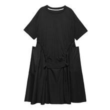 Женское платье EAM, зеленое платье с большим карманом и завязками, платье большого размера с круглым вырезом и рукавом средней длины, весенне-...(Китай)