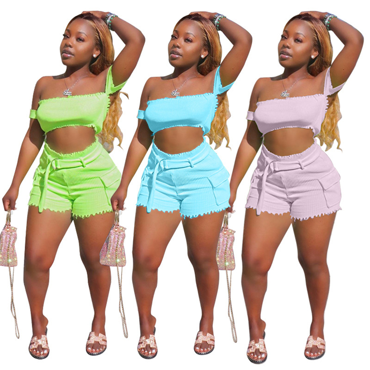 S8016-2021 new arrivals solid color short summer two piece set women clothing