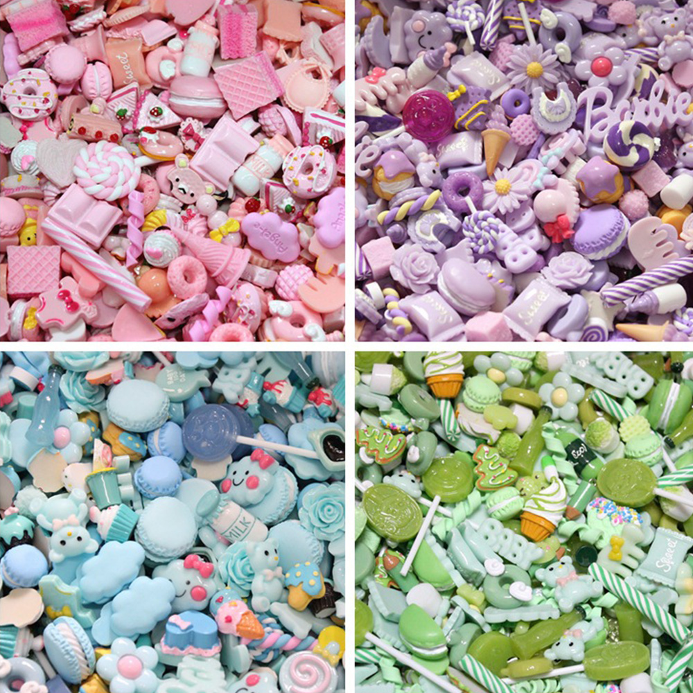 WGL408 Wholesale DIY Resin Charms Cake Food Accessories Simulation Cake Fruit Cream Slime Accessories