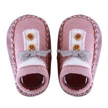 Новая детская весенняя обувь с бантом для мальчиков и девочек, носки для новорожденных Нескользящие кожаные детские носки-тапочки с мягкой ...(China)