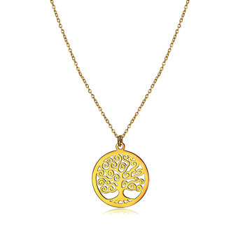 New Design Family Tree Necklaces 18k Gold Personalized Stainless Steel Women Choker Tree Jewelry Dainty Tree Of Life Necklace
