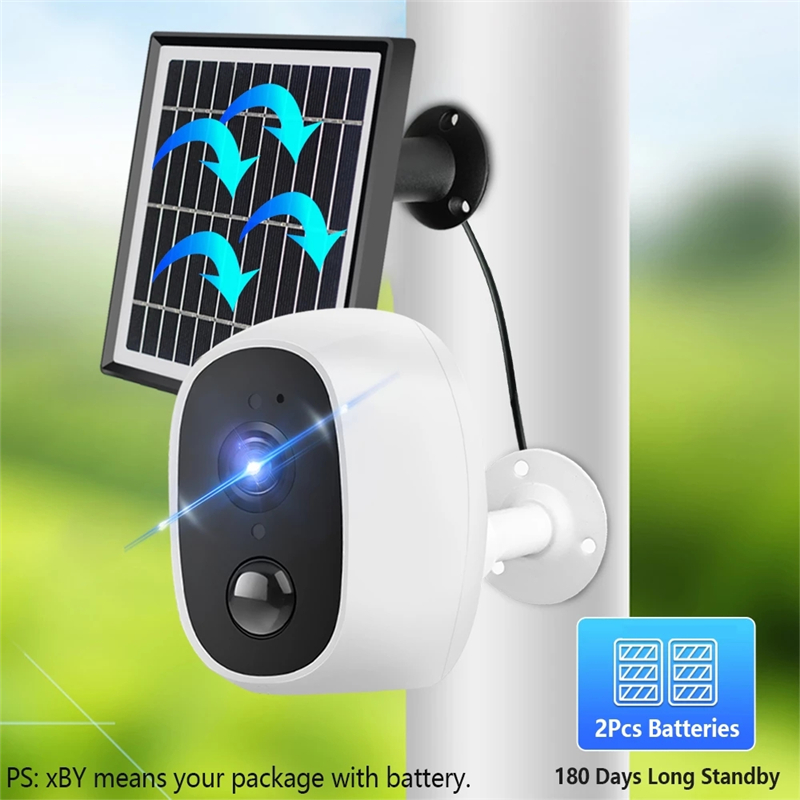 Solar WiFi Camera Rechargeable Battery Wireless Camera Outdoor Security Camera Home Surveillance Two Way Audio IR Night Vision