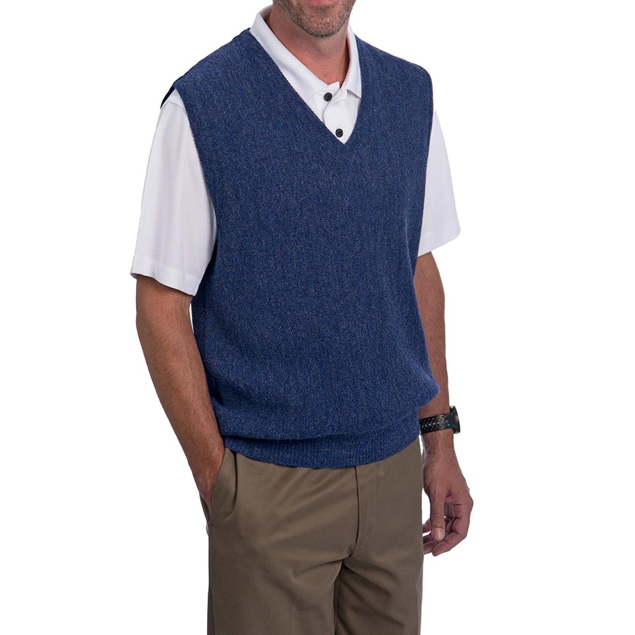 classic custom simple basic Design Men Pure Color v neck  100% wool vest golf boy sweater