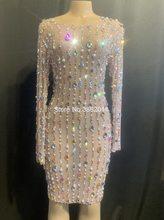 Женское Сетчатое платье со стразами и жемчугом на день рождения, вечерние платья, длинное платье для ночного клуба, костюм для сцены, сексуа...(Китай)
