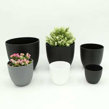 Yicai Desktop Decoration Black White Round Frosted Smooth Indoor Cheap Small Flower Pot