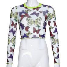 Darlingaga Harajuku с принтом бабочки, сетчатый топ, футболка, прозрачная, модная, шикарная, женская футболка с длинным рукавом, кроп-топы, футболки, б...(Китай)