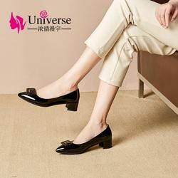 J249 Patent leather dress shoes women hoof heels shoes ladies footwear