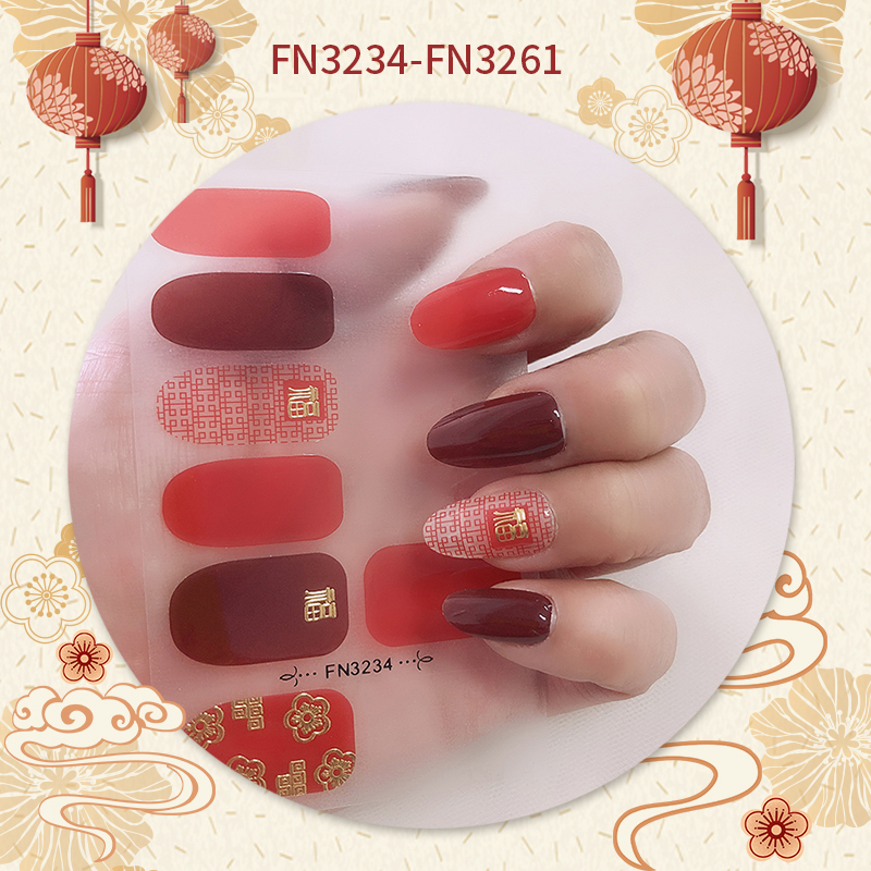 Nail Art Sticker Supplies Nail UV Jel Wraps 12 pcs FN series Crystal and Chinese Happy New Style
