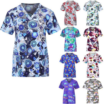 Cartoon Scrubs Tops Medical Clothing Hospital Uniforms for women man Nursing Uniform Health and Beauty Work Wear surgical shirts