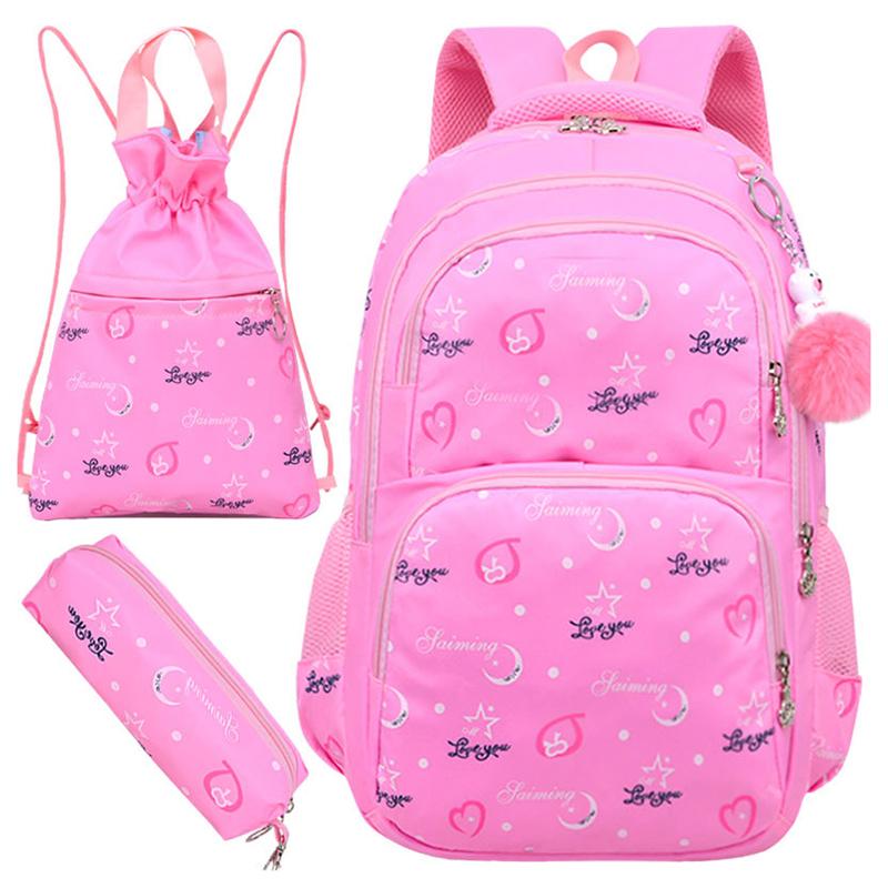 Wholesale sublimation printing Waterproof Teenager primary School bag backpack set with Drawstring Bag