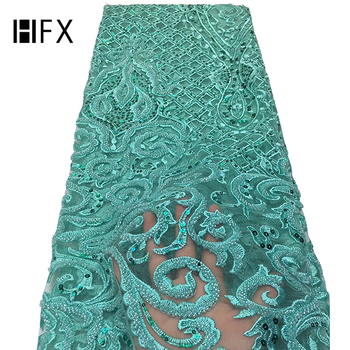 HFX High-End Handmade Beaded Embroidery French Lace Wedding Dress Embroidered Aqua Tulle Fabric