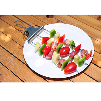BBQ Skewers Lock & Slide Stainless Steel Kebabs, Grill Kebab Gadget, Easy Release for Any Type of Shish Kebab Chicken or Vegeta
