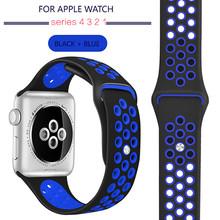 Силиконовый ремешок-браслет для Apple Watch Series 5 4 3 2 38 мм 40 мм 42 мм 44 мм резиновый ремешок для iwatch 4 3 2 1 браслет(Китай)