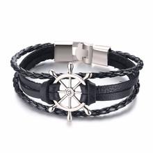 Vnox винтажные браслеты-шармы скорпиона для мужчин, многослойный кожаный браслет, мужские повседневные ювелирные изделия(Китай)