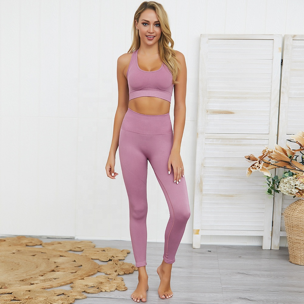 Ptsports womens seamless yoga set gym wear fitness seamless leggings bra yoga set