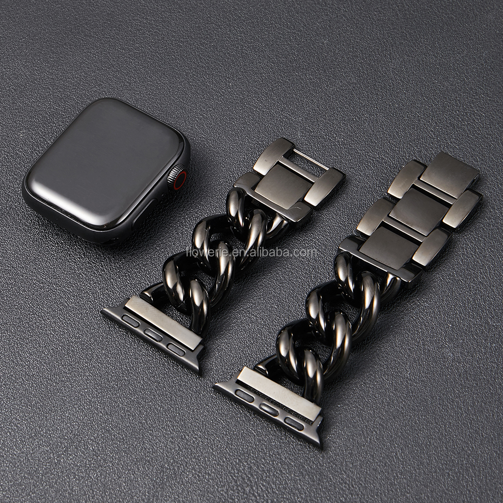 For iWatch Replacement Bands Stainless Steel Metal Cowboy Chain Strap Wrist Band