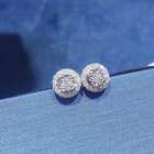 Wholesale High Quality Fashion Wedding Accessories Jewelry Natural Round Diamond 18K Pure Earring Stud