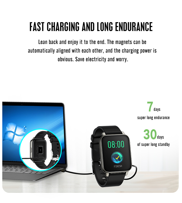 Custom Brand Hot Selling 1.69 Inches Big Touch Screen P36 Smartwatch with Heart Rate IP67 Waterproof Sports Amazon Smart Watch