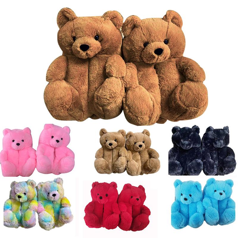 Teddy bear slippers 2021 new arrivals fuzzy teddy Wholesale Plush New Style Slippers House Teddy Bear Slippers for Women Girls