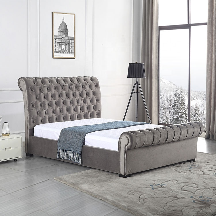 modern bedroom furniture modern bed with storage silver grey faux fabric textil bed with crystal  fabric bed